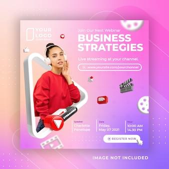 Oficina de negócios de transmissão ao vivo em mídia social postar modelo do instagram
