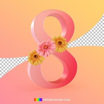 Oito número com flor para renderização em 3d de celebração do dia internacional da mulher