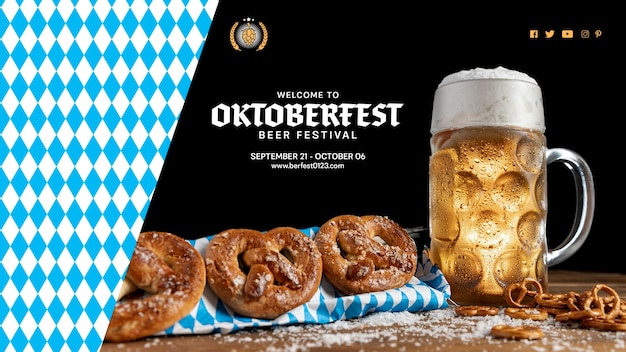 Oktoberfest bebida e lanches em uma mesa