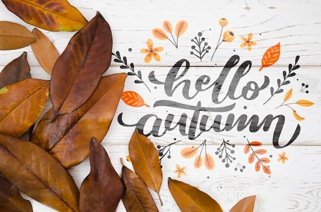 Olá citação outono com folhas marrons