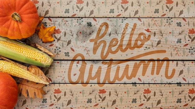 Olá conceito de outono com rabiscos de folhagem