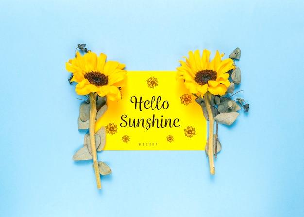 Olá design floral mock-up do sol