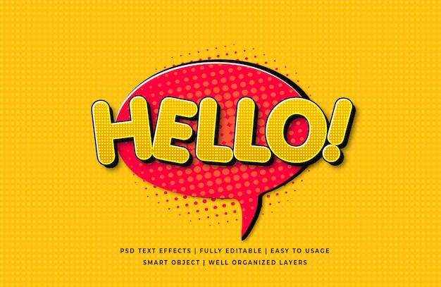 Olá discurso em quadrinhos efeito de estilo de texto 3d