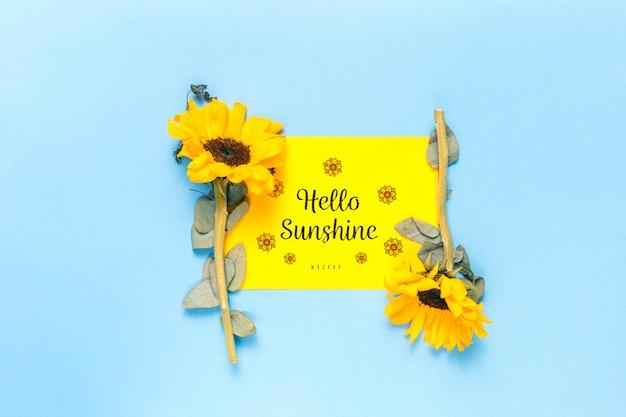 Olá maquete do sol com flores