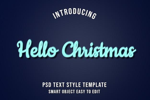 Olá natal - efeitos de texto de brilho de néon azul