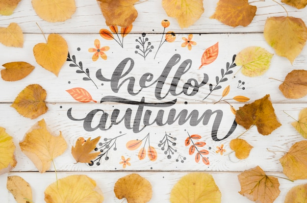 Olá outono citação rodeada de folhas amarelas