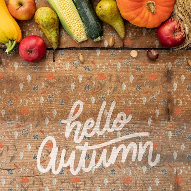 Olá quadro de frase e vegetais de letras de mão outono