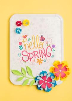 Olá quadro de primavera com conceito de flores