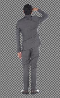 Olhos traseiros com vista lateral traseira, comprimento total do homem de negócios fique de pé e use calças de terno cinza, isolado