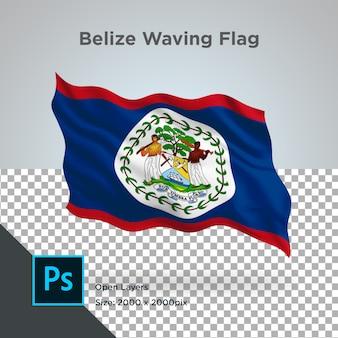 Onda de bandeira de belize em maquete transparente