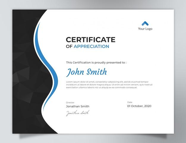 Ondas escuras com design de certificado de padrão de polígono