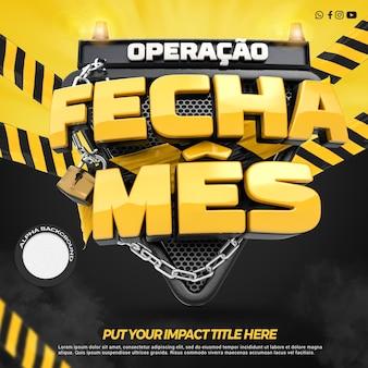 Operação de frente 3d render fecha mês de promoção de lojas em campanha geral no brasil