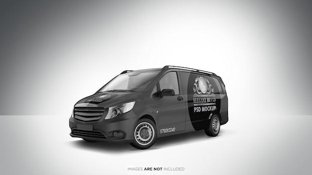 Opinião de perspectiva do mockup do psd do veículo de van