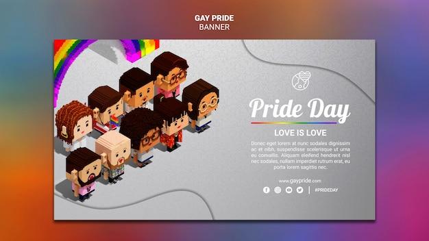 Orgulho gay de modelo de banner colorido