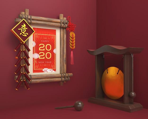 Ornamentos chineses e moldura para o ano novo