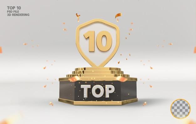 Os 10 melhores prêmios de pódio assinam renderização 3d dourada