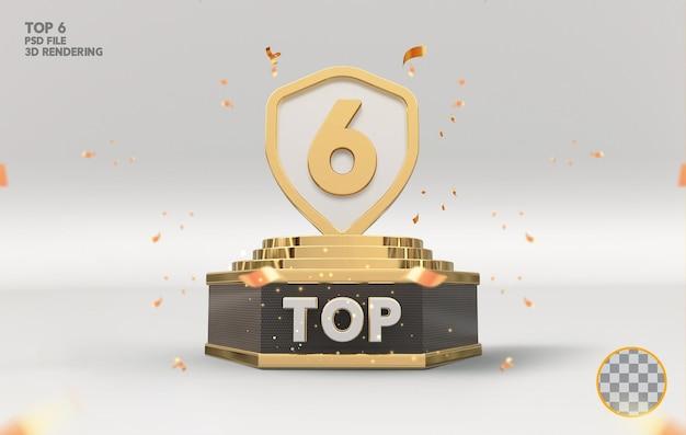 Os 6 melhores prêmios de pódio assinam renderização 3d dourada