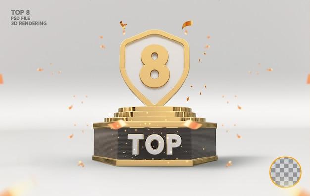 Os 8 melhores prêmios de pódio assinam renderização 3d dourada
