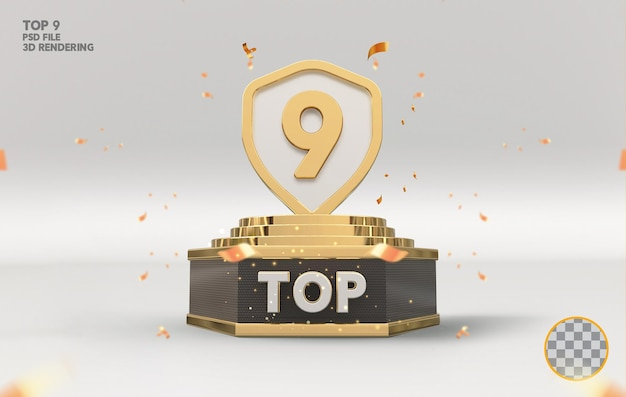 Os 9 melhores prêmios de pódio assinam renderização 3d dourada