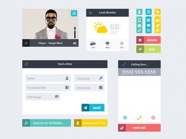 Os elementos da interface coloridos com formulário de login