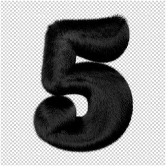 Os números são feitos de pele de vison preta. 3d número 5