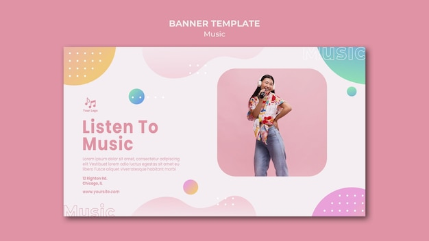Ouça o modelo da web de banner de música