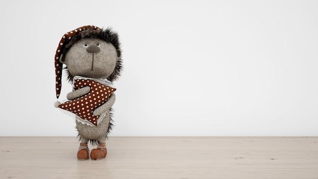 Ouriço de pelúcia adorável com pijama