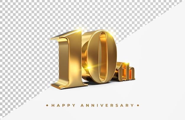Ouro 10º feliz aniversário, renderização em 3d isolada