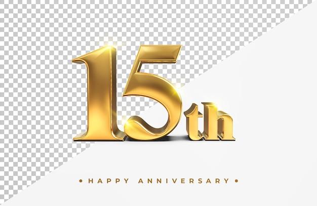 Ouro 15º feliz aniversário, renderização 3d isolada