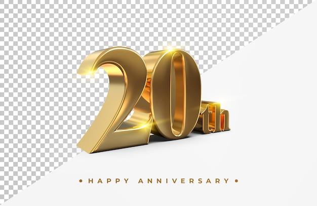 Ouro 20 feliz aniversário renderização em 3d isolada