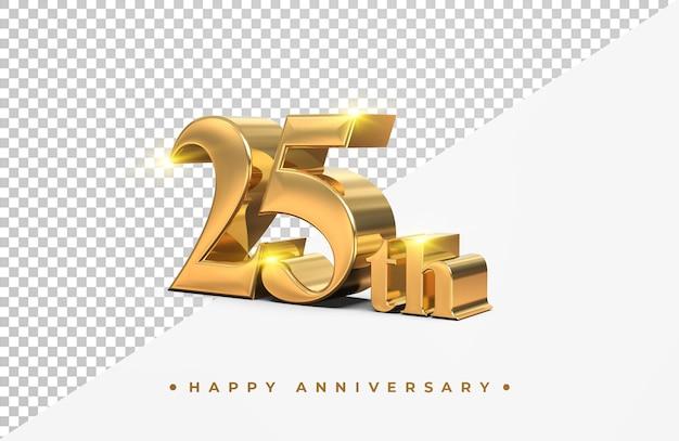 Ouro 25º feliz aniversário, renderização em 3d isolada