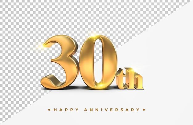 Ouro 30º feliz aniversário, renderização em 3d isolada