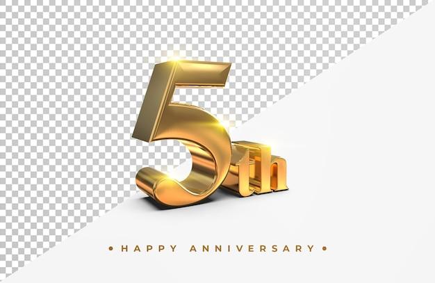 Ouro 5º feliz aniversário, renderização em 3d isolada