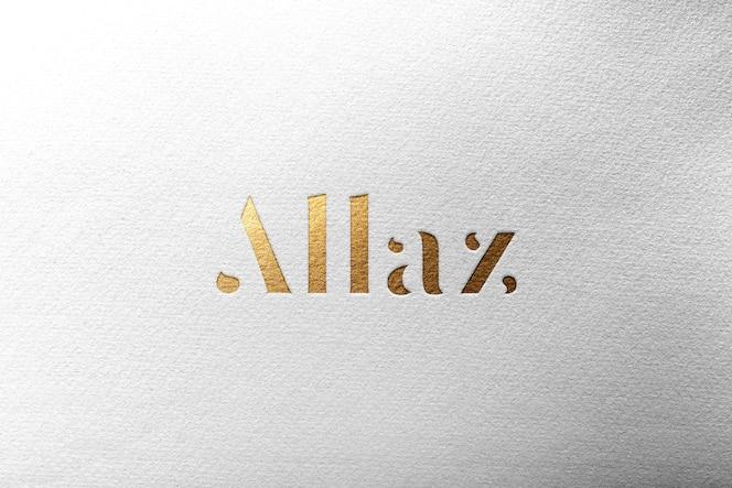 Ouro de papel de maquete de logotipo