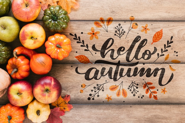 Outono frutas e legumes com citação