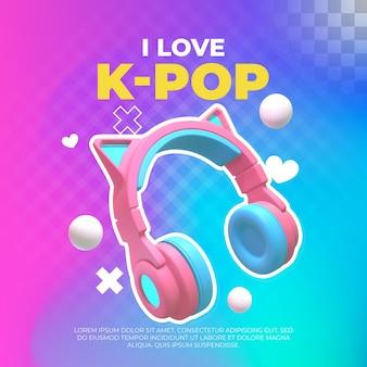 Ouvir música k-pop. ilustração 3d