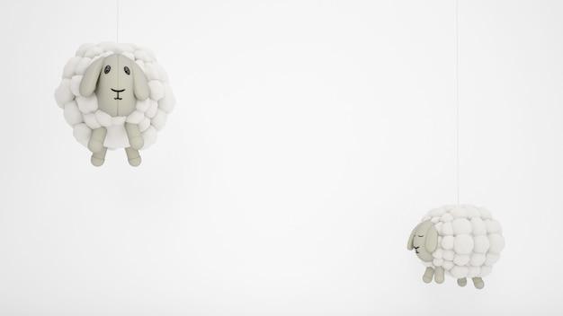 Ovelhas de lã de brinquedos para crianças adoráveis com copyspace branco