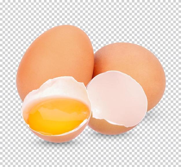 Ovo de galinha, ovo partido isolado premium psd