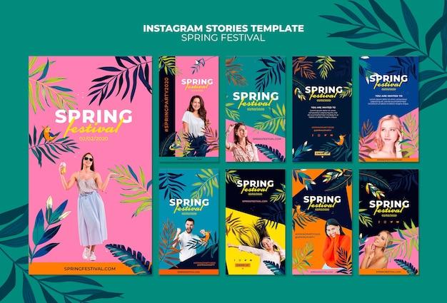 Pacote colorido de histórias do instagram da primavera