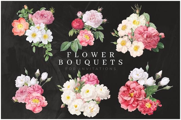 Pacote de buquê de flores coloridas