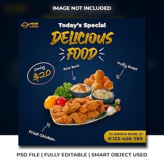 Pacote de comida deliciosa frango frito e tigela de arroz restaurante de fast food