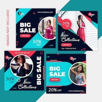 Pacote de compras de marketing de mídia social, instagram post, banner quadrado ou modelo de panfleto