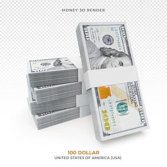 Pacote de dinheiro de 100 dólares isolado