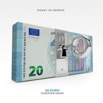 Pacote de dinheiro de 20 euros com bloqueio 3d render