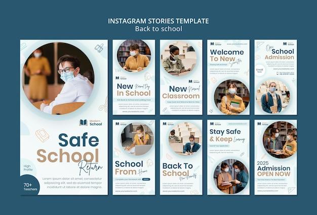 Pacote de histórias de mídia social de volta às aulas