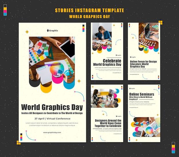 Pacote de histórias de mídia social do dia mundial dos gráficos