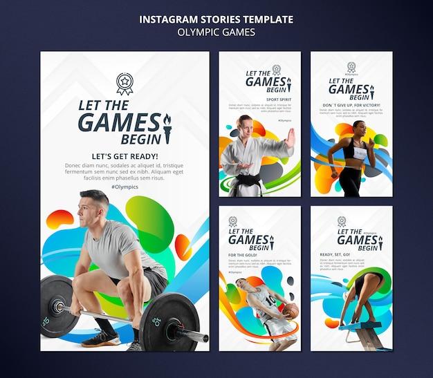 Pacote de histórias de mídia social dos jogos olímpicos