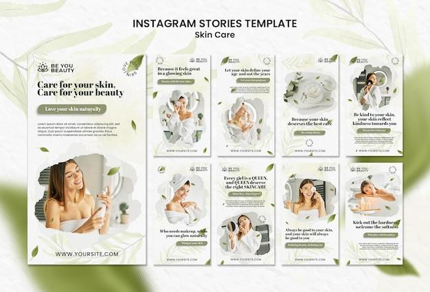 Pacote de histórias de mídia social para cuidados com a pele