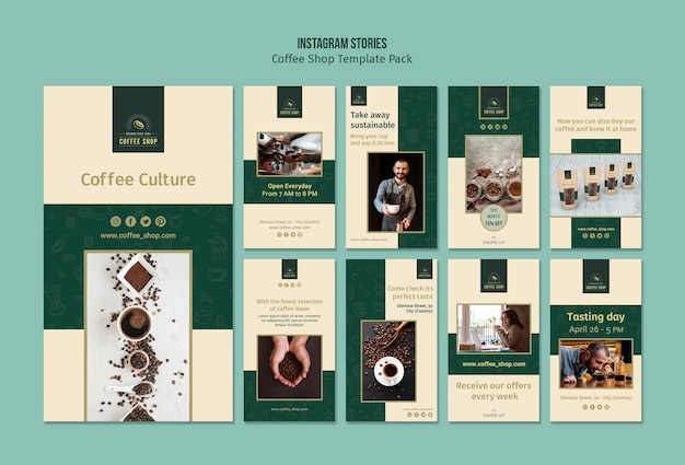 Pacote de histórias do instagram da loja de café