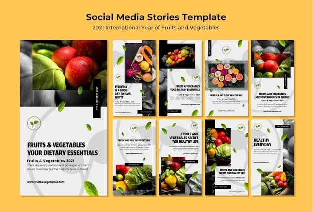 Pacote de histórias do instagram do ano internacional das frutas e legumes